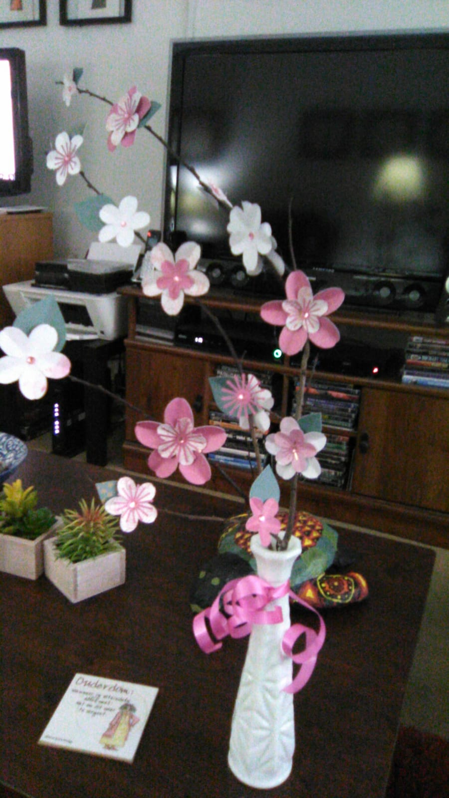 Flowers that I printed and nana constructed with the cricut machine. It looks so cute